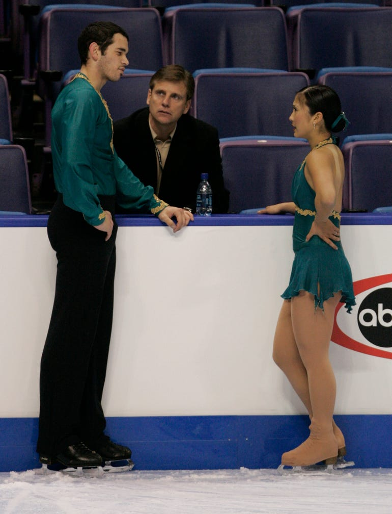 Peter Oppegard, shown coaching in 2006, is the last American to win an Olympic medal in pairs figure skating along with former partner Jill Watson.