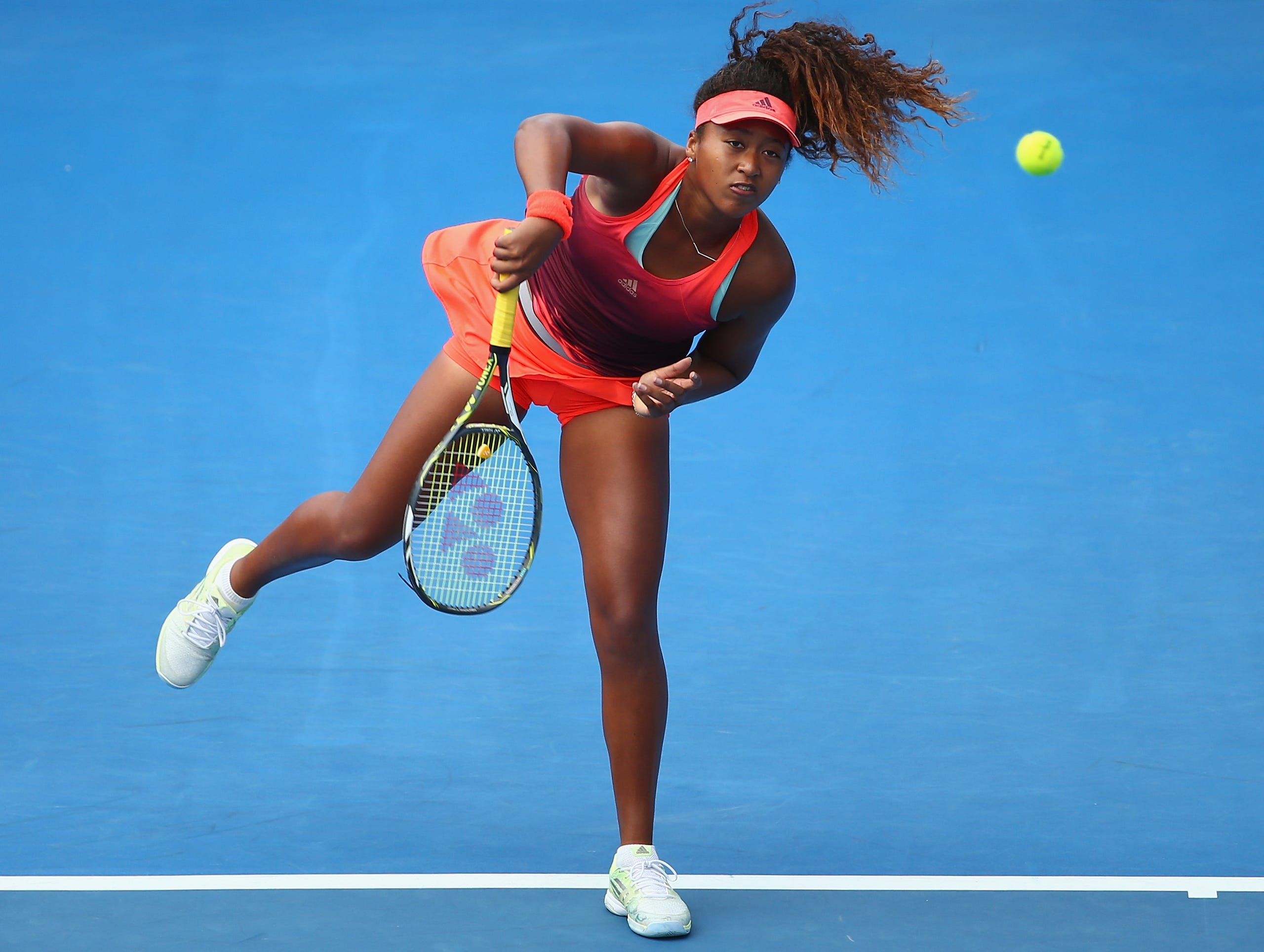 Naomi Osaka of Japan serves in the women's single's match against Jarmila Wolfe of Australia during day two of the 2016 Hobart International at the Domain Tennis Centre on January 11, 2016 in Hobart, Australia.