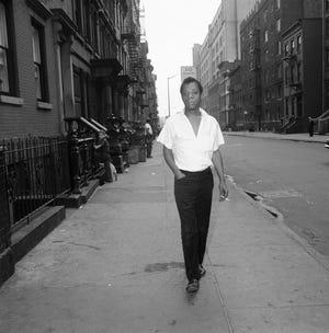 James Baldwin on a street in New York, June 19, 1963.