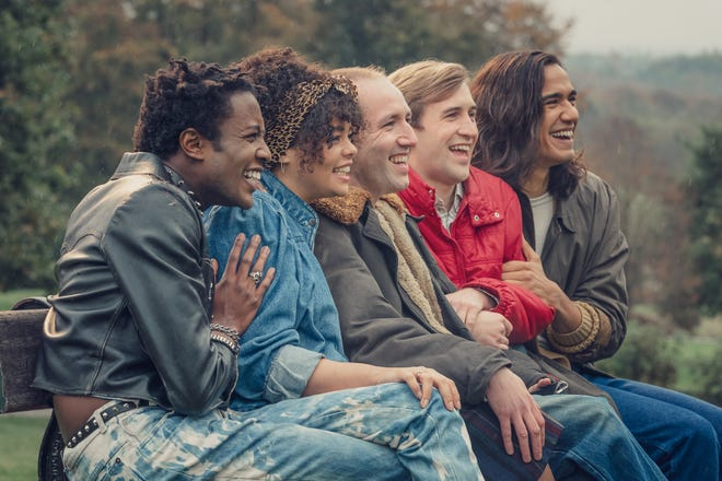 "From left, Omari Douglas as Roscoe Babatunde, Lydia West as Jill Baxter, David Carlyle as Gregory Finch, Callum Scott Howells as Colin Morris-Jones, and Nathaniel Curtis as Ash Mukherjee in ""It's A Sin."""