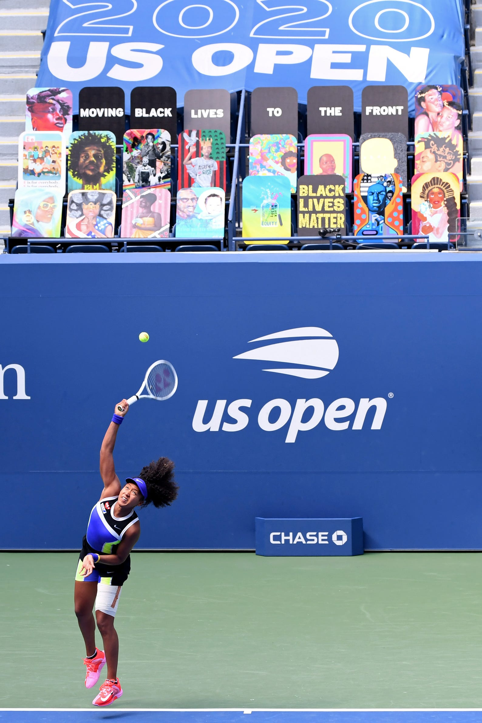 Naomi Osaka of Japan serves on day five of the 2020 U.S. Open tennis tournament at USTA Billie Jean King National Tennis Center on Sept. 4, 2020.
