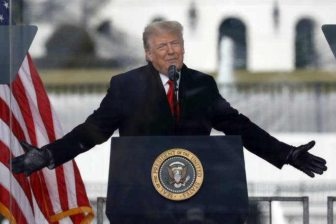 U.S. President Donald Trump speaks to his supporters at the Save America Rally on the Ellipse on Wednesday, Jan. 6, 2021, near the White House in Washington, D.C. [Yuri Gripas/Abaca Press/TNS]