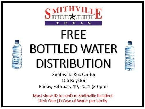 The city of Smithville is distributing free bottled water to city residents Friday afternoon at the Smithville Recreation Center. The city is currently under a boil-water notice.