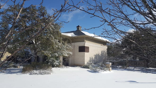 The Westbank Library is seen last week in the snow, before the ice arrived and a pipe burst inside the building.
