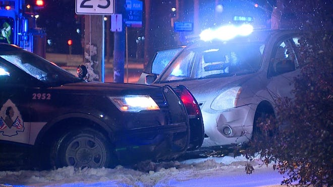 The scene after a driver led police on a chase Wednesday, Feb. 17, 2021.