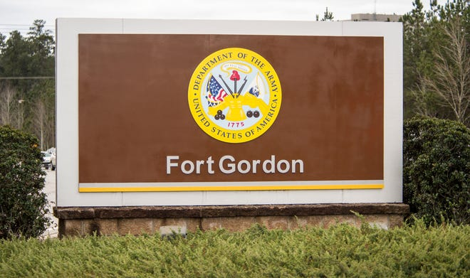 The sign outside Fort Gordon's gate 1, photographed Friday afternoon February 19, 2021.