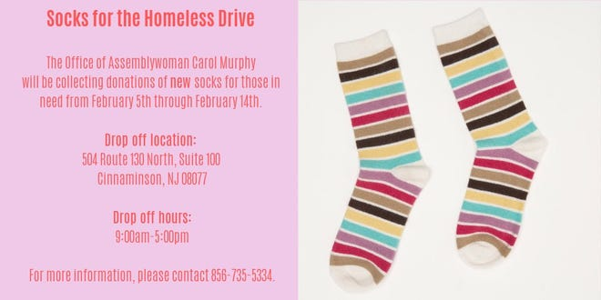 Assemblywoman Carol Murphy of Mount Laurel paying forward acts of kindness toward her many years ago by collecting more than 1,500 pairs of socks for the homeless in Burlington County.