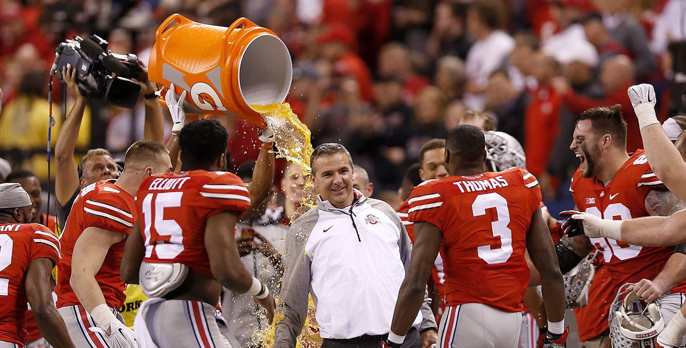 Ohio State coach Urban Meyer was the target of three postgame Gatorade baths in the 2014 postseason, when his team won three games as underdogs to win the first College Football Playoff national championship.