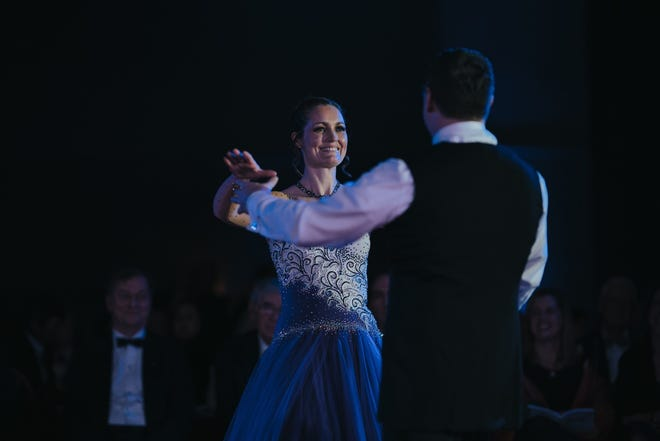 """Dr. Karen Monaghan, with dance partner Doug McHugh, in the 2019 """"Dancing With the Docs"""" competition that raises money for Cape Wellness Collaborative."""