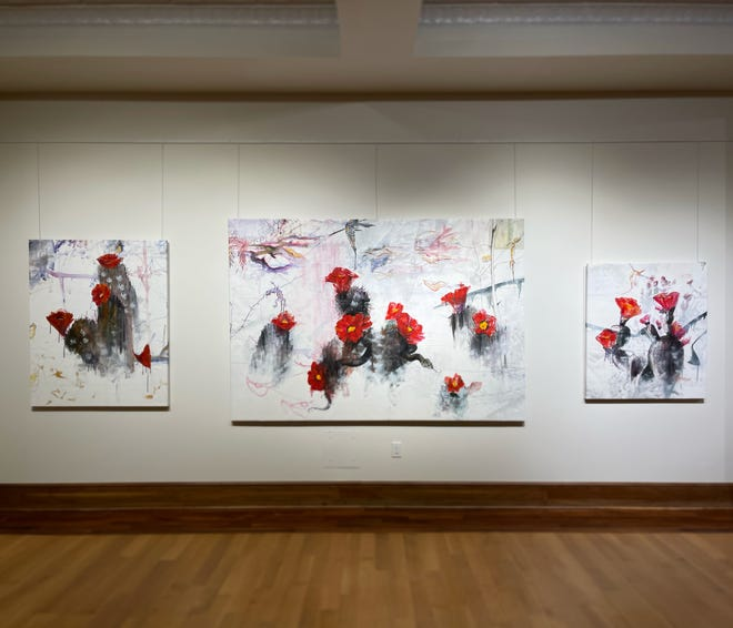 """Three paintings from Jessica Bartoe's """"The Graphein Excerpts and Current Works,"""" on display at Stuart's Opera House in Nelsonville, Ohio."""