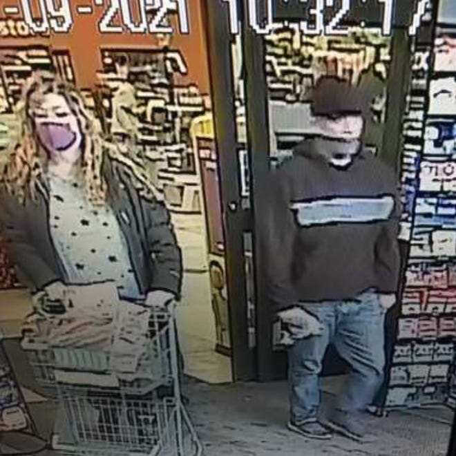 Central Ohio Crime Stoppers is offering a cash reward for information leading to the arrest of a suspect who steals purses from vehicles at gas stations. This photo shows the suspect and a woman believed to be accompanying him.