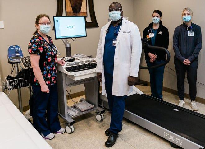 Left to right are Wanda Sorum, Cardiopulmonary Rehab coordinator; Dr. Bosun Fashoro;  Leah Hendricks, respiratory therapist; and Hannah Heibel, nuclear medicine technologist.