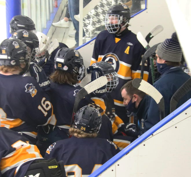 Crookston boys' hockey coach Josh Hardy talks to his team during a game at Red Lake Falls Thursday, Feb. 18.