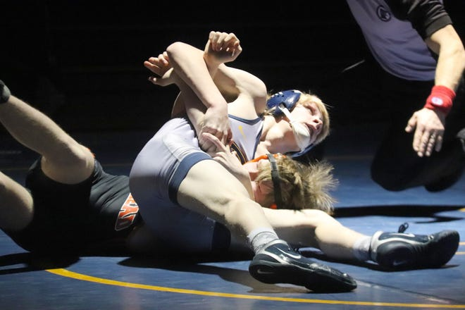 Braxton Volker wrestles against Moorhead on Feb. 18. Volker won two matches by pin at 145 pounds Friday in Wadena.