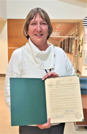 Chatham County Finance Director Vicki McConnell received a special resolution from the Chatham County Board of Commissioners honoring her 45 years of service to the county.