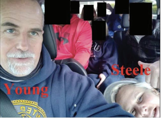 Graydon Young and Laura Steele are seen here in a van of people driving from North Carolina to Washington D.C. before the riot at the Capitol.