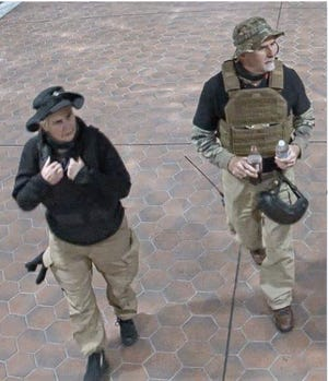Laura Steele (left) and Graydon Young (right) were caught on security footage the morning of Jan. 6.