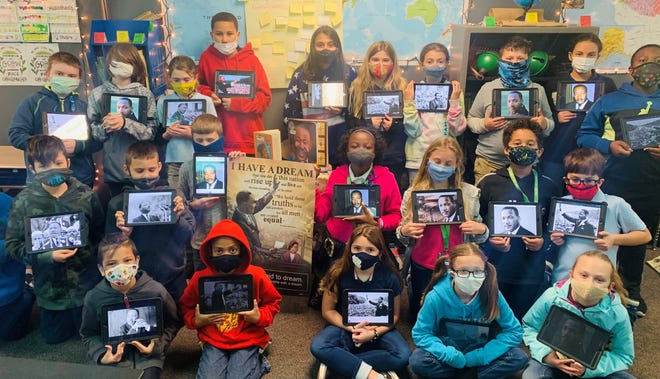 """In honor of Black History Month, Mrs. Parkinson's 4th-grade class studied Dr. Martin Luther King Jr. and his """"I Have a Dream"""" speech at Belle Terre Elementary School."""