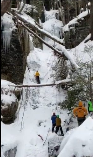 US Park Ranger Kevin Reish, who is assigned to the Upper Delaware, practicing his ice climbing techniques, Feb. 11 at Silverthread Falls in the  Delaware Water Gap National Recreation Area.