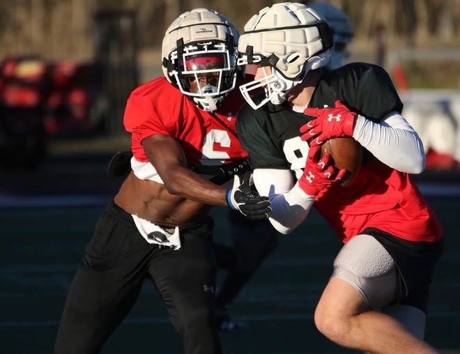 Gardner-Webb football players run through a drill during a recent practice in Boiling Springs. [GWU Football photo]