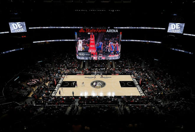 A general view of State Farm Arena during the game between the Atlanta Hawks and the Detroit Pistons in November 2018 in Atlanta, Ga. The venue will b the site of this year's NBA All-Star game.