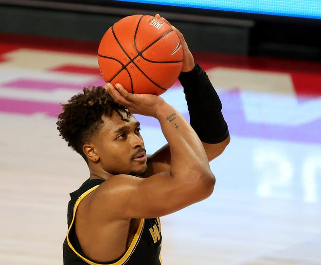 Wichita State's Tyson Etienne shoots a free throw during the second half against Houston in January  2021, at Fertitta Center in Houston.