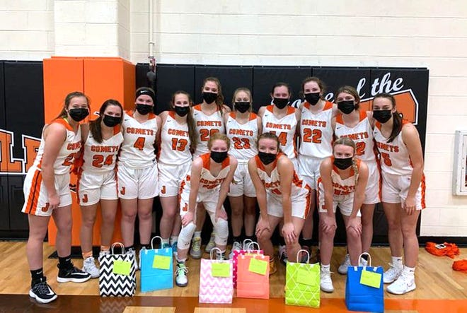 The Jonesville Lady Cardinals celebrated Senior Night with a big win over Bronson Thursday night.