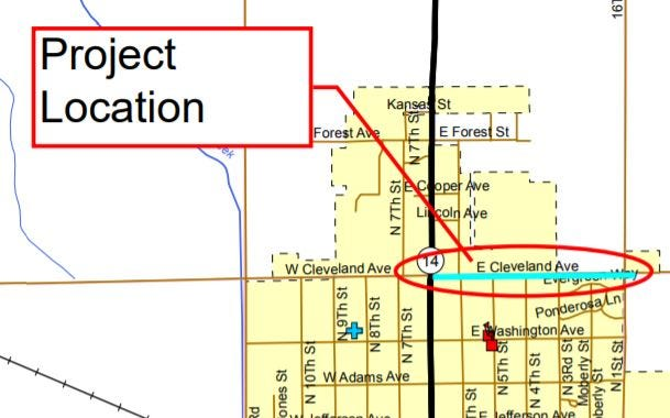 This graphic from the City of Sterling's grant application shows the location of a planned multi-use path that the city was awarded a grant to build.