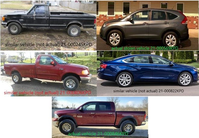 A collage of the vehicles, or similar models, stolen in Kirksville over the last few weeks.