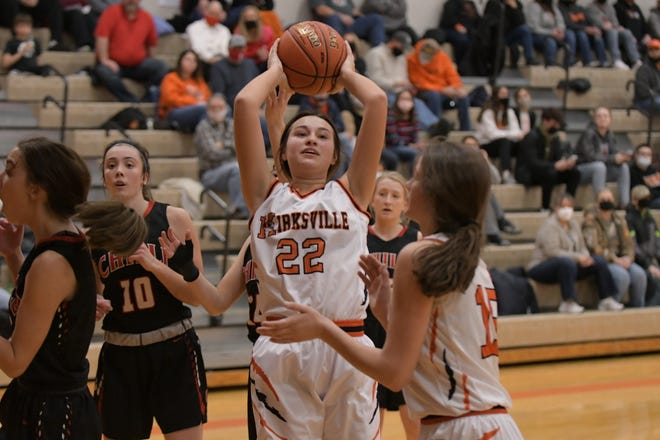 Kirksville's Jenna Jackson grabs a loose ball in the air after a foul was called Thursday in a home game against Chillicothe.