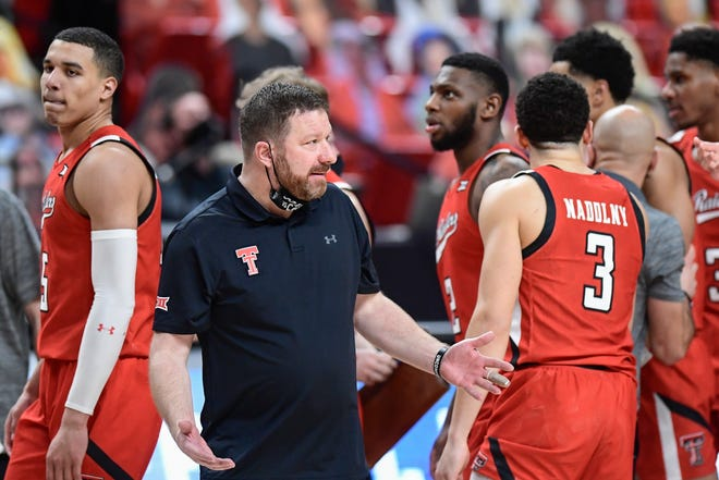 Texas Tech head coach Chris beard reacts to a call during the second half of a Big 12 Conference game Feb. 9 against West Virginia at United Supermarkets Arena. [AP Photo/Justin Rex]