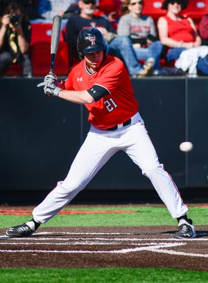Texas Tech catcher-designated hitter Nate Rombach (21) led the Big 12 with six home runs and 27 runs batted in during the pandemic-shortened 2020 season. The Red Raiders open the 2021 season against Arkansas at 7 p.m. Saturday at Globe Life Field in Arlington. It's the first of three games for Tech at the Collegiate Baseball Showdown, which features three teams from the Big 12 and three from the SEC.