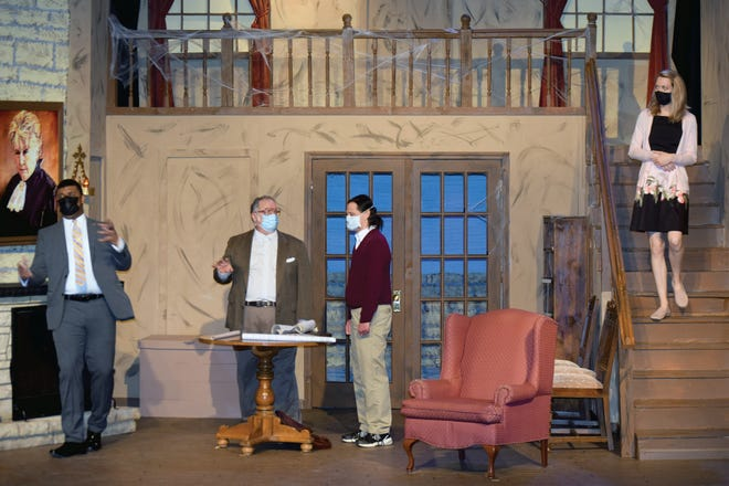 """Actors rehearse """"Morbid Curiosity,"""" the latest production by the River City Community Players. Public performances of the comedy will begin at 7:30 p.m. today at the Performing Arts Center, 500 Delaware St. Playwright Shannon Reilly, Topeka, will attend this evening's performance. Additional performances are scheduled for 7:30 p.m. this Saturday, Feb. 26 and Feb. 27. Performances also are scheduled for 2 p.m. Sunday and Feb. 28. Masks are required and must be left on during the performances. Cast members will also be wearing masks. For additional information, visit www.rccplv.com."""