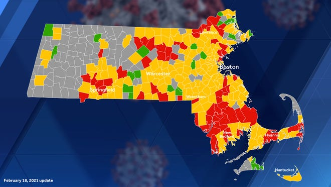 The latest COVID-19 map put out by Mass. DPH.