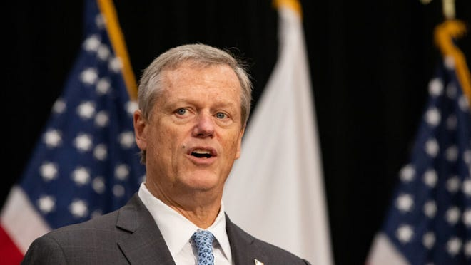Gov. Charlie Baker did not offer a clear response when asked Feb. 18, 2021, about the House Speaker Ron Mariano's desire to see educators gain immediate vaccine access.