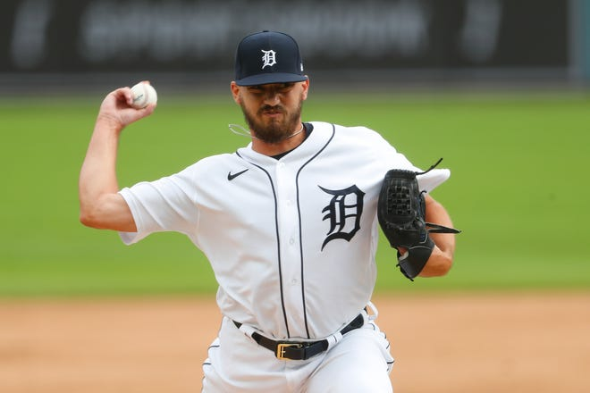 Gibraltar Carlson graduate John Schreiber throws for the Detroit Tigers in a game on Aug. 2 of last year. Schreiber was claimed by the Boston Red Sox Thursday.