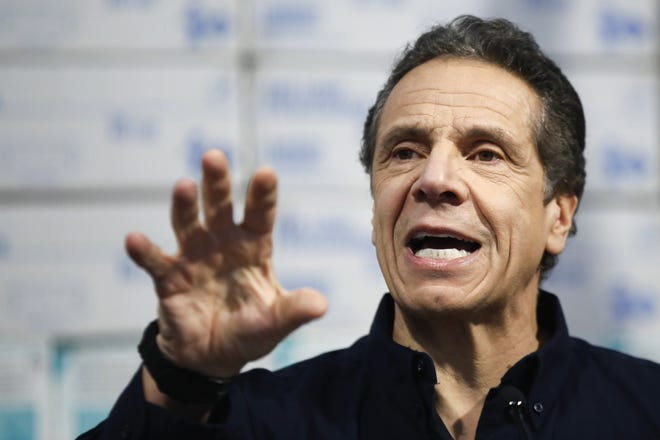 New York Gov. Andrew Cuomo speaks during a news conference.