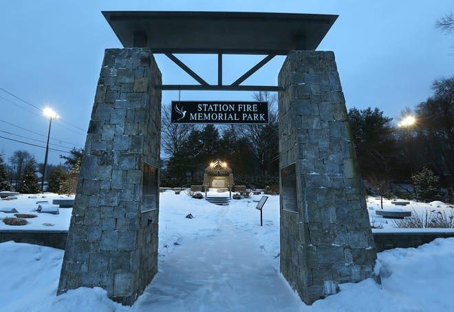 The entrance to the Station Fire Memorial Park in West Warwick on Friday morning. The park was opened on the site in 2017 in remembrance of the 100 people killed and more than 200 injured by the fire on Feb. 20, 2003.  STORY, PAGE XA