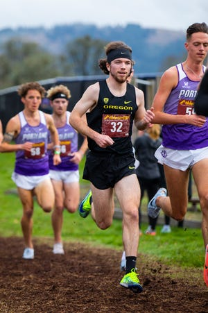 Oregon's Jack Yearian (32) competes in the Oregon XC Invite earlier this month.