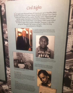 A display at Wm. McKinley Presidential Library & Museum chronicles the efforts by former Stark County residents in seeking civil rights. CantonRep.com / Gary Brown