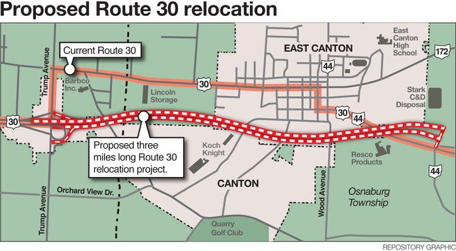 The Ohio Department of Transportation has proposed extending the four-lane portion of U.S. Route 30 so that motorists no longer travel through East Canton.