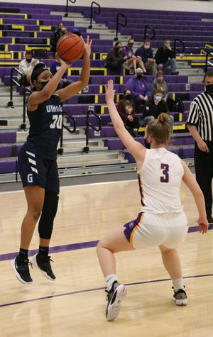 Guilford sophomore Sydney Donaldson shoots a jump shot Thursday, Feb. 18, 2021, over Jordan Johnston of Hononegah. It was one of Guilford's few open shots in a 60-27 win by the Indians in Rockton.