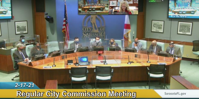 A screen capture of the Sarasota City Commission meeting on Wednesday.