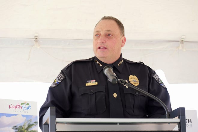 North Port Police Chief Todd Garrison, seen here at the groundbreaking for the new public safety facility in Wellen Park, credited Accreditation Administrator Tammie Wichers for shepherding the department to its Triple Excelsior rating from the Commission for Florida Law Enforcement Accreditation.
