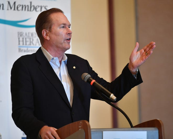 Congressman Vern Buchanan speaking at a Manatee Chamber of Commerce luncheon in 2018. Buchanan already has held a fundraiser for the 2022 election cycle, which came shortly after a series of votes on controversial issues.