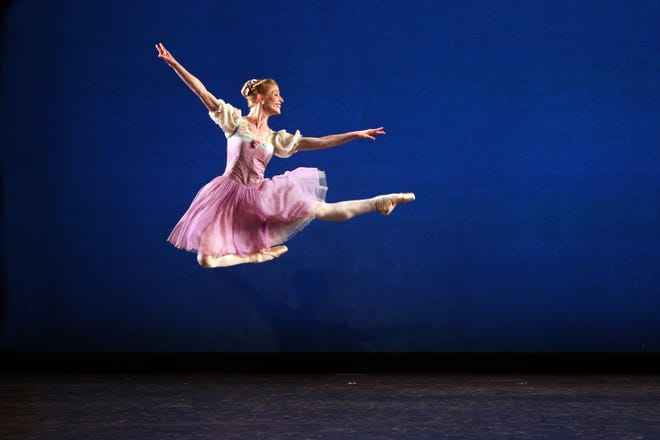 """Katelyn May takes a leap in The Sarasota Ballet's production of """"Donizetti Variations"""" by George Balanchine in its Digital Program 5."""