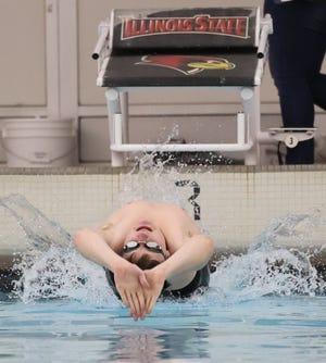 Kewanee's Calvin DeSplinter pushes off the blocks for the backstroke at a recent Boilermaker meet at Illinois State University.