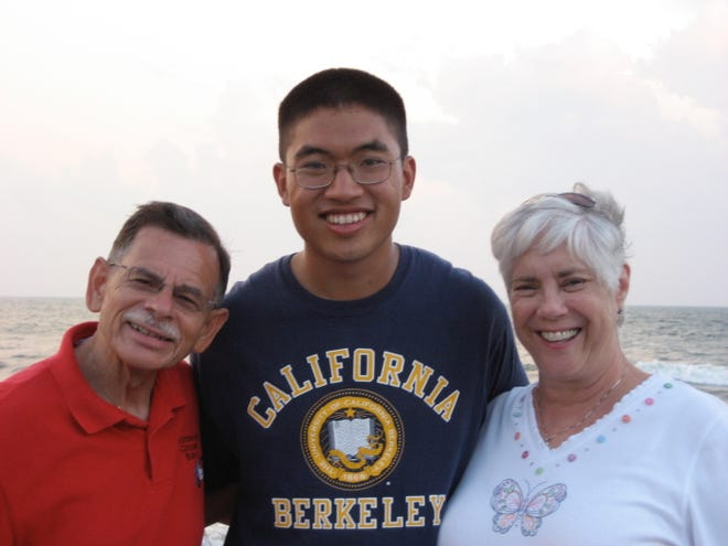 A photo of Derek Yee with Barry and Jeanne Glick when he visited them at their home near Ocean Isle Beach.