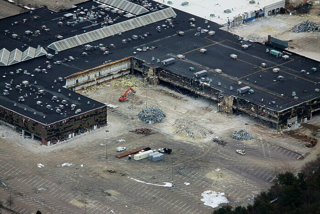 Mike Dupont took this aerial photo of demolition prep work at the Silver City Galleria in Taunton on Feb. 18, 2021.