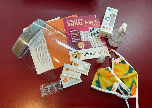 A Fallon Health COVID-19 care kit being provided to the nonprofit's at risk members.
